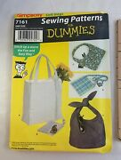 Simplicity 7161 Sewing Patterns For Dummies One Size Soft Bag Purse Uncut 2002