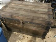 Antique 1800and039s Immigrant Blanket Storage Trunk Chest Original Tags Of Travel