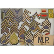 Us Army Shoulder Rank Patches Insignia Chevrons Mp Felt Arm Band Vintage Lot
