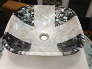 18 Inches Home Vessel With Antique Work Marble Sink Mother Of Pearl Overlay Work