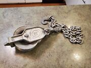 Vintage Aluminum Pulley And Chain Xs-100-b Sr Sherman And Reilly Usa 2500 Max Load