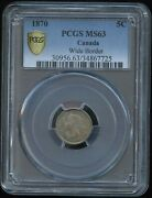 1870 Five Cents - Wide Border - Pcgs Ms63 - Choice Toning