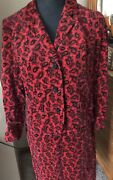 Vintage 60s Mod Womens Red Velvet Paisley Suit With Rhinestone Buttons Mcm