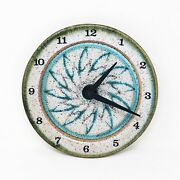 Wizard Of Clay Pottery Hanging Wall Clock Floral Medallion Aa Battery 9andrdquo Usa