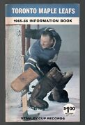Original 1965-66 Toronto Maple Leafs Nhl Media Guide Yearbook Fact Book