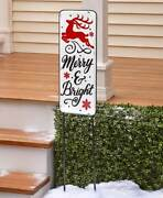 Holiday Yard Stake Merry And Bright Lawn Decorations Christmas Decor