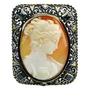 Antique Cleopatra Shell Hardstone Cameo Silver And Gold With Stones Pendant Brooch