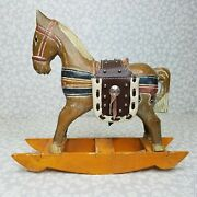 Vintage Wood Resin Carved Hand Painted Toy Horse On Rocker Leather Saddle