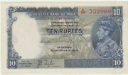 India-british Administration,10 Rupees Banknote,1937,choice Au,pick19-a