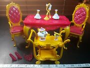 Barbie Dollhouse Dining Room Furniture Disney Belle Castle Table Chair Accessory