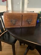 Vintage Imperial Library File Box Oak Wood Card Catalog File Box-2 Drawer