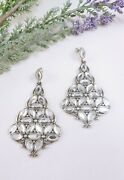 2.75 Brighton Christmas Tree Earrings Dangle Large Faceted Clear Silver Plated