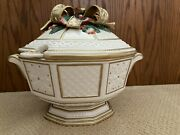 Fitz And Floyd Christmas Snowy Woods Large Tureen With Lid And Ladle - Unused Mint
