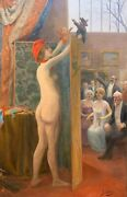 Antique Pin-up Gil Baer French Surrealist Nude Woman Puppet Show