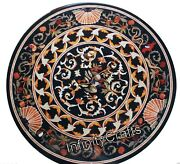 30 Inches Marble Coffee Table Top Round Patio Table With Vintage Art Home Decor