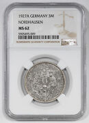 1927 A Germany Nordhausen 3m Mark Ngc Certified Ms 62 Mint State Unc 009