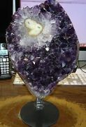 Huge Amethyst Crystal Cluster Geode From Uruguay Cathedral Steel Stand Flower