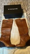 Coach Adair Brown Leather Boot Wedge size Us 7. Knee High Boots