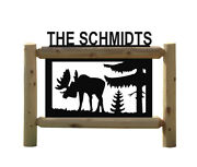 Personalized Moose Sign - Clingermans Outdoor Signs - Rustic Log Decor