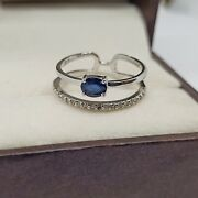 Vintage Natural Sapphire And Diamond 925 Silver Antique Christmas Rings For Her