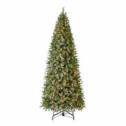 Home Heritage 10 Foot Mahogany Cashmere Prelit Christmas Tree With Lights Used