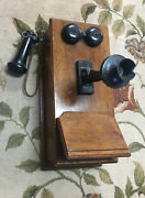 """Antique Wooden Wall Phone Kellogg S And S Co Chicago Il 19"""" X 6"""" Box Decent Cond"""