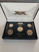 1999 Us 24kt Gold Plated Coin Collection Andndash 5 Coin Set In Original Box