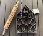 Hearth And Hand Magnolia 2019 Giant Multi-cookie Cutter Sheet Rolling Pin Bundle