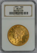 1904 20 Ms 64 Ngc Rgaded Gold Double Eagle Liberty Nice Coin Free Shipping