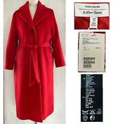 And Other Stores Womenand039s Sz 6 - 8 Belted Red Wool Mohair Midi Overcoat New 249