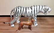 Rare-near Life Size White Bengal Tiger Leather And Wood Statue Sculpture Figurine