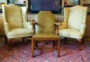 Kittinger Colonial Williamsburg Leather Open Arm Chair Cw152 Rare