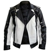 Menandrsquos Black And White Zipper Thriller Leather Jacket With Multi Pockets