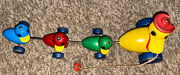 Vintage Wooden Gabby Goofies Goofy Duck Family Fisher Price Pull Toy Noise Maker