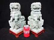 Vintage Large 12.5 Chinese Jade Foo Dog / Lion Statues. 25 Pounds Each.