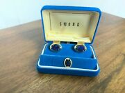 Vintage Swank Cuff Links And Tie Tack Blue Lapis Gold Tone Mesh - Never Worn Nib