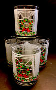 Vntg 4 1986 Valliaut Drinking Glass Christmas Frosted Glass Wreath Window 10 Oz