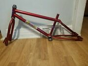 Old School Bmx 1988 Gt Bicycles Pro 20 Frame Candy Red Takara Fk Vintage Rare