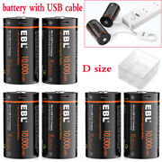Usb Rechargeable D Li-ion Batteries 10000mwh 1.5v D Cell + Usb Cable Lot