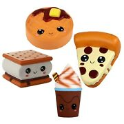 Anboor 4 Pcs Emoji Squishies Smore Waffle Cake Pizza Coffee Cup Kawaii Scente...