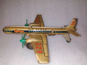 Vintage Tinplate Friction Toy Air Plane Model St-622 Old China