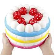 Anboor Squishies Jumbo Giant Strawberry Cake Scented Slow Rising Kawaii Color...