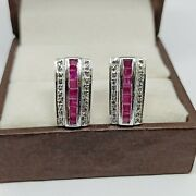 Vintage Natural 925 Silver Ruby And Diamond Stud Antique Earrings Christmas Gift