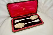 Rare Cased Geo Iii Irish Hm Sterling Silver And Gilt Berry Serving Spoons 1810