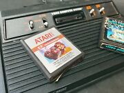 Original Atari Cx2600a4 Switch Black Console Vtg With Two Games E.t. And Pinball