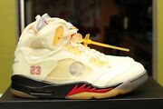 Air Jordan 5 Retro Sp Fire Red Off-white X Size 9.0 Ds 100 Authentic Dh8565-100