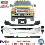Front Bumper Chrome + Cover + Valance + Fog + Plate For 2005-2007 Ford F250-f550
