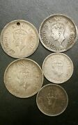 1942 1944 1945 India One Rupee Silver Coin And 2 1943 Half Rupees 5 Silver Coins