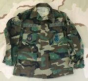 Us Air Force Vintage Camo Bdu Shirt Usaf In Europe Patch Rank Badge