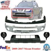 Front Bumper Chrome + Cover + Valance + Foglamps For 2009-2017 Nissan Frontier